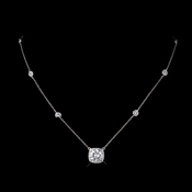 Silver Clear CZ Crystal Bridal Necklace 8652