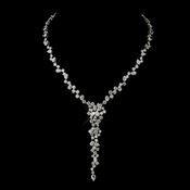 Antique Silver Clear CZ Crystal Bridal Necklace 8654