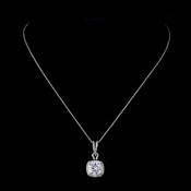 Silver Clear Cushion Cut CZ Crystal Bridal Necklace 8750