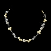 Silver Pearl & Swarovski Crystal Bead Wire Bridal Necklace 8751 (White or Ivory)