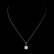 Silver Clear CZ Crystal Princess Cut Bridal Necklace 9251