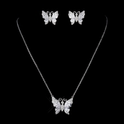Silver Clear CZ Crystal Butterfly Bridal Necklace & Earrings Jewelry Set 9256 - **Necklace Only Is Discontinued**