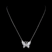 Silver Clear CZ Crystal Butterfly Bridal Necklace 9256 ** 1 Left *****