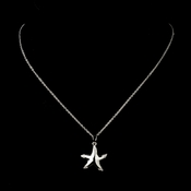Silver Clear CZ Crystal Starfish Pendant Bridal Necklace 9257 ***Only 1 Left***