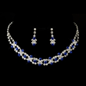 Silver Royal Blue & Clear Rhinestone Necklace & Earring Bridal Jewelry Set 3092