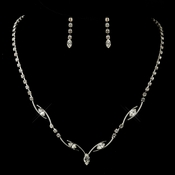 Silver Clear Necklace  Earrings Set 5104