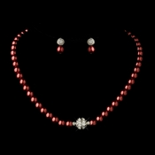 Silver Burgundy Glass Pearl Pave Ball Necklace & Earrings Bridal Jewelry Set 720