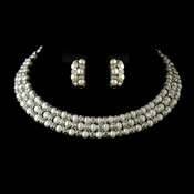 Antique Silver Ivory Pearl Coil Necklace & Earrings Bridal Jewelry Set 723