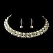 Antique Silver Ivory Pearl Coil Necklace & Earrings Bridal Jewelry Set 724