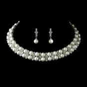 Antique Silver White Pearl Coil Necklace & Earrings Bridal Jewelry Set 724
