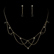 * Gold Black Rhinestone Necklace & Earrings Bridal Jewelry Set 8000