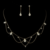 * Gold Clear Rhinestone Necklace & Earrings Bridal Jewelry Set 8000  **Discontinued**