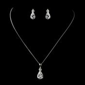 CZ Crystal  Pear Cut Tear Drop Crystal Necklace & Earrings Bridal Jewelry Set 8663 Available in Silver and Gold
