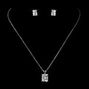Antique Silver Clear CZ Crystal Emerald Cut Necklace & Earrings Bridal Jewelry Set  8665