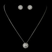 Antique Silver Clear Round CZ Crystal Necklace & Earrings Bridal Jewelry Set 8757