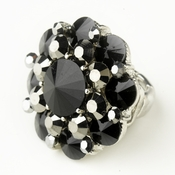 Silver Smoked & Black Crystal Flower Bridal Ring 9