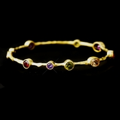Gold Dark Multi CZ Bangle Bracelet 2742