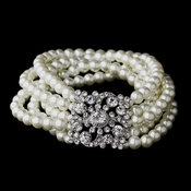 Pearl and Crystal Vintage Stretch Bracelet 8347 Ivory