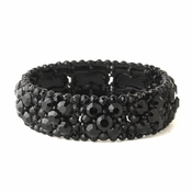 Jet Black Cluster Stretch Bracelet 8703