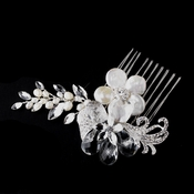 * Silver Ivory Pearl Comb 4013