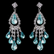 Silver Aqua Chandelier Earrings 24792