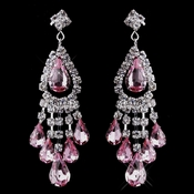 Silver Pink Chandelier Earrings 24792