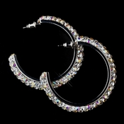Antique Silver AB Hoop Earrings 8707