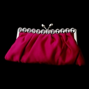 Fuchsia Satin Rhinestone Evening Bag 302