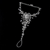 Silver w/ Clear Crystal Sparking Stones on Floral Design Foot Jewelry 3 - Sold Individually