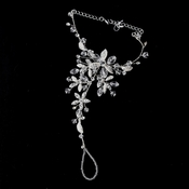 Silver w/ Clear and Ivory Crystal Sparking Stones on Floral Design Foot Jewelry 4 - Sold Individually