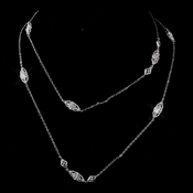 Antique Silver Clear CZ Necklace 3017