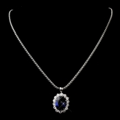 Royal Princess Kate Middleton Inspired Sapphire CZ Necklace Chain 5055 w/ Pendent 5014