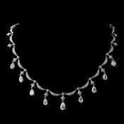 Vintage Silver Clear Teardrop Cubic Zirconia  Necklace N 5113 * 0 Left *