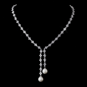 Stunning Antique Silver Pearl & CZ Necklace N 9017 ** Discontinued