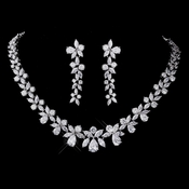 Silver CZ Necklace & Earring Set 1289***Discontinued***