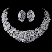 Silver Clear CZ  Necklace Earring Set 1293
