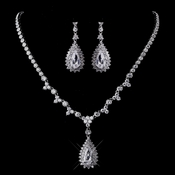 Silver Clear CZ  Necklace Earring Set 1300