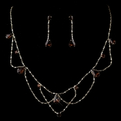 Silver Brown Dainty Necklace & Earring Set 8000