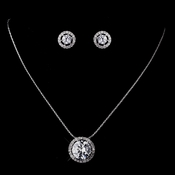 Silver Clear CZ Circle Necklace & Earring Set 8600