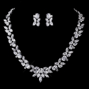 Silver Clear CZ Necklace & Earring Set 8612