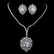 Silver Clear CZ Necklace & Earring Set 8615***Discontinued***