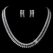 Black CZ Necklace & Earring Set 8616