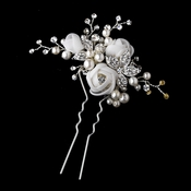 Organza Rose Bridal Hair Pin 124 (White or Ivory)