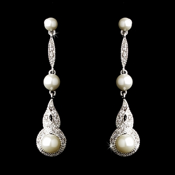 Antique Silver White Pearl & CZ Bridal Earring 5484