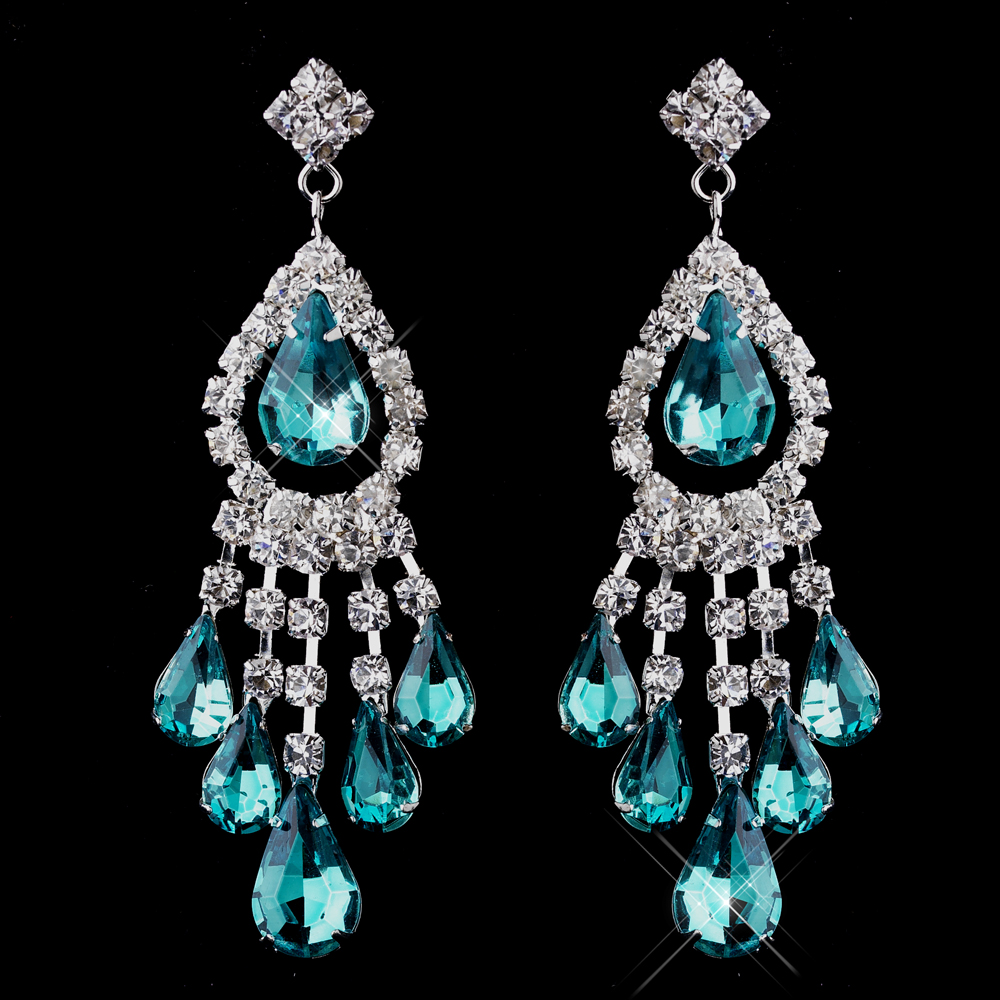 Silver teal chandelier earrings 24792 mozeypictures Image collections