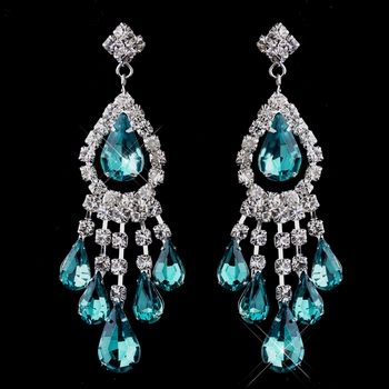 Silver Teal Chandelier Earrings 24792