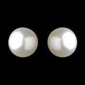 Silver White 10mm Pearl Stud Pierced Earrings 6062