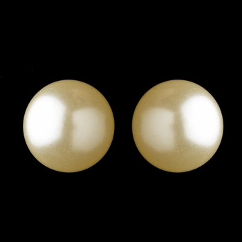 Gold Ivory Pearl Pierced Clipped Earrings 6062
