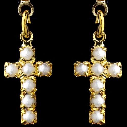 Gold White Pearl Cross Dangle Earrings 8684 ** Discontinued **