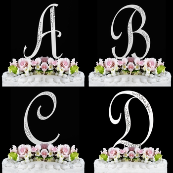 """Simple & Sophisticated Crystal Initial Wedding Cake Top """" Sparkle """""""